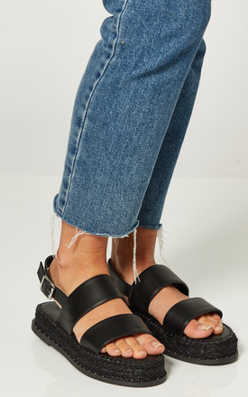 Black Flatform Espadrille Sandals by Truffle Collection Product photo