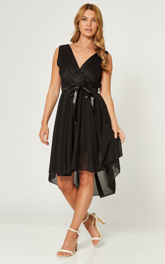 High Low Wedding Guest Dress with Belt Tie in Black by Gini London
