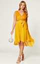 High Low Wedding Guest Dress with Belt Tie in Mustard by Gini London