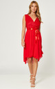 High Low Wedding Guest Dress with Belt Tie in Red by Gini London