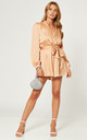 Satin Wrap Playsuit with Tie in Champagne by LIENA