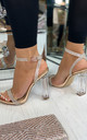 Chantel Clear Block Heeled Sandals In Rose Gold Diamante by Larena Fashion