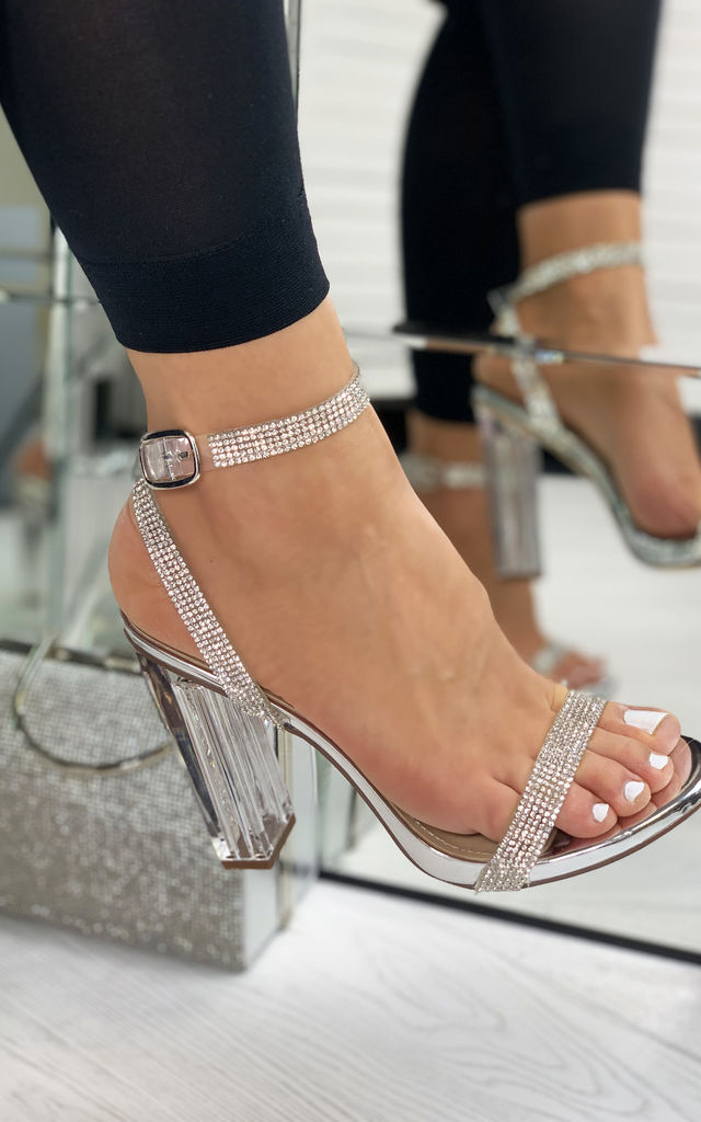 Chantel Clear Block Heeled Sandals In Silver Diamante by Larena Fashion