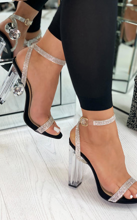 Chantel Clear Block Heeled Sandals In Black by Larena Fashion