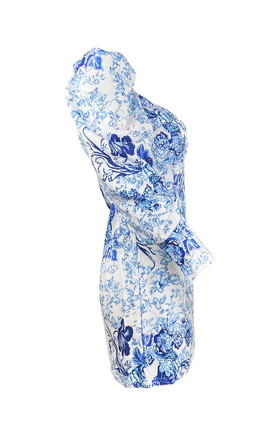 PETAL BODYCON DRESS IN BLUE FLORAL PRINT by AMO