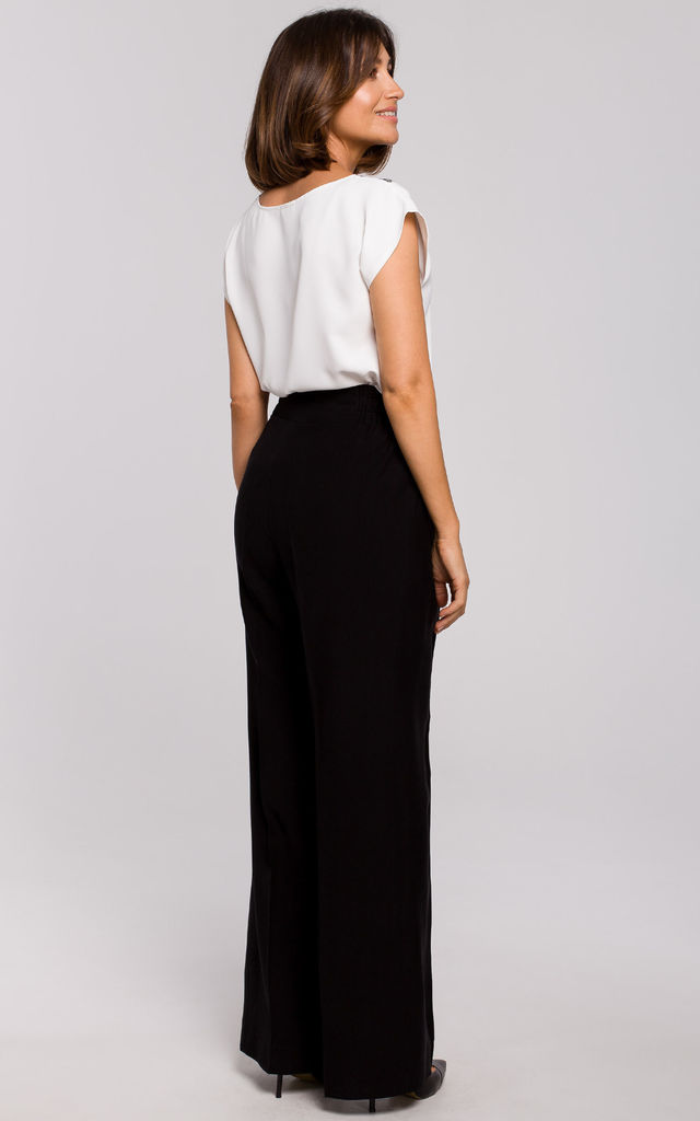 High Waisted Wide Leg Trousers in Black by MOE