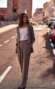 High Waisted Wide Leg Trousers in Khaki by MOE