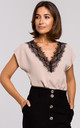 Beige Cap Sleeve Top with Lace Neckline by MOE