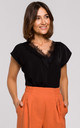 Black Cap Sleeve Top with Lace Neckline by MOE