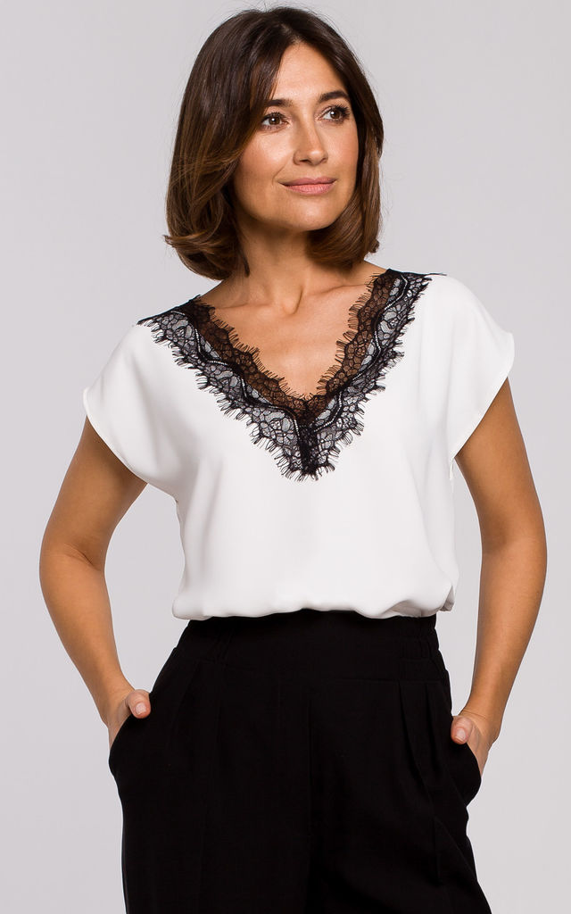 White Cap Sleeve Top with Lace Neckline by MOE