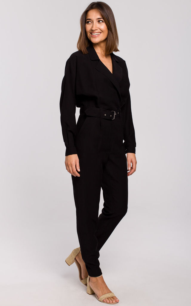 Black Long Sleeve Jumpsuit with Wrap Front by MOE