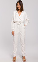 White Long Sleeve Jumpsuit with Wrap Front by MOE