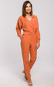 Orange Long Sleeve Jumpsuit with Wrap Front by MOE