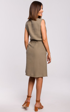 Sleeveless Shift Dress with Zips in Khaki by MOE