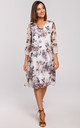 Chiffon Drop Waist Dress in White Floral Print by MOE