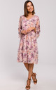 Chiffon Drop Waist Dress in Pink Floral Print by MOE