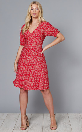 Lydia Shirring Cuff Sleeve Tea Dress In Red Floral Print by Blue Vanilla Product photo