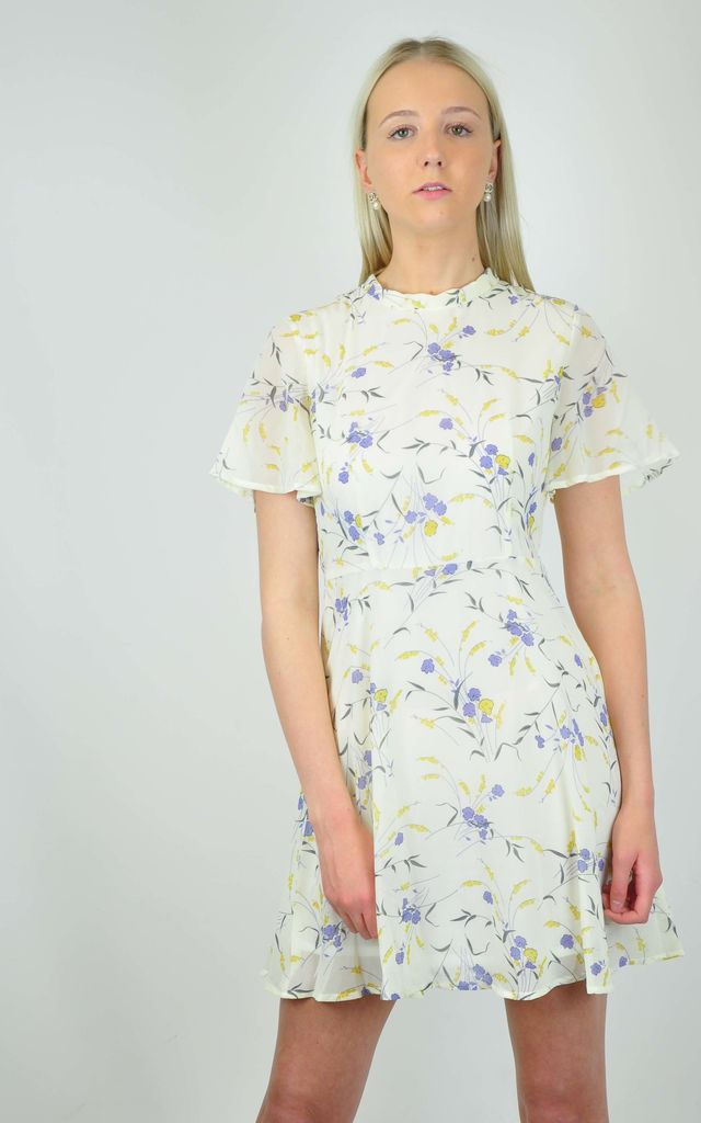 Genesis Mini Dress in White Floral Print by GOLDKID LONDON