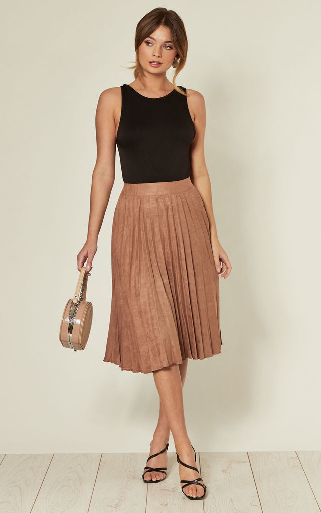 Tan High Waist Faux Suede Pleated Midi Skirt by MISSTRUTH