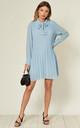 Pleated Smock Dress with Pussy Bow in Blue by KURT MULLER