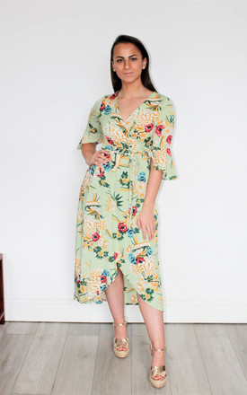 Garden Party Wrap Dress In Pea Green Floral Print by GIGILAND Product photo