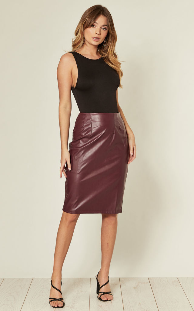 Wine Faux Leather High Waist Midi Pencil Skirt by MISSTRUTH