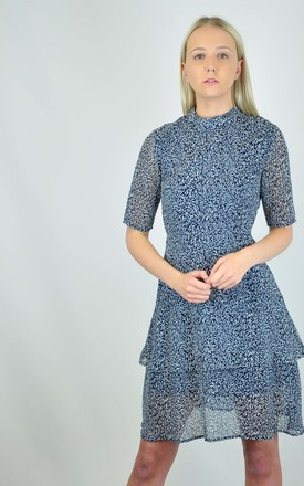 Serenity Mini Dress in Blue Leaf Print by GOLDKID LONDON