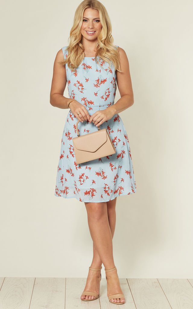 Blue Round Neck Mini Dress with Red Floral Print by MISSTRUTH