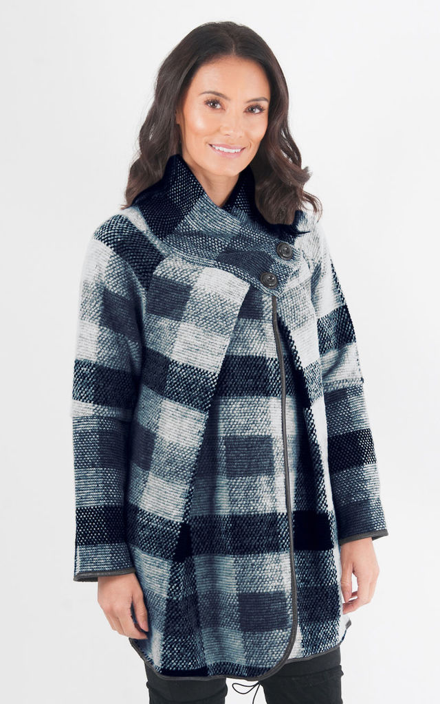 Juliana Button Coatigan in Navy Tartan by Want That Trend