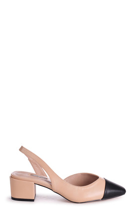 Hugh Nude Block Heeled Pumps With Black Toe Cap by Linzi