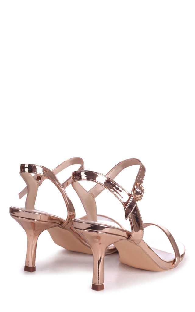 Lila Rose Gold Chrome Low Heeled Sandals by Linzi