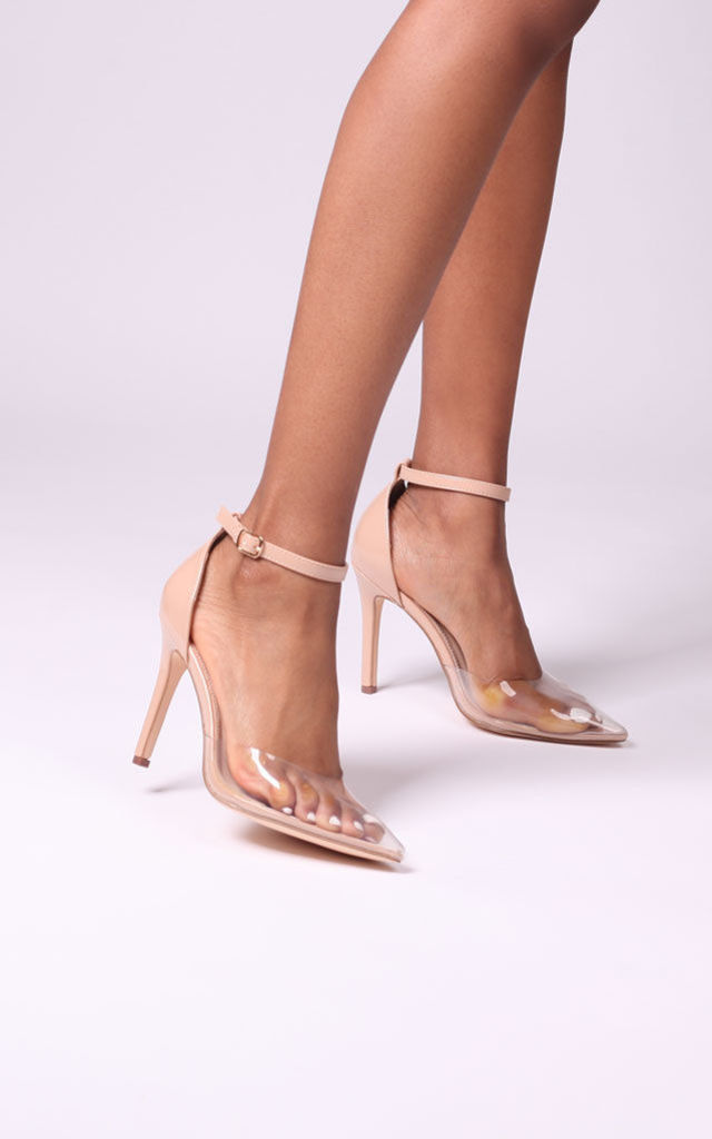 Bliss Nude Patent & Perspex Court Heels With Ankle Strap by Linzi