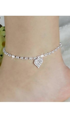 Silver Rhinestone & Crystal Anklet With Heart Charm by GIGILAND Product photo