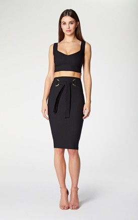 Vesper Cynthia Black Pencil Skirt with Belt by Vesper247