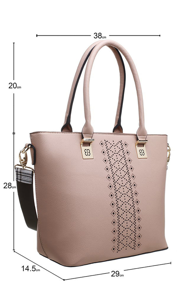 PINK LASER CUT TOTE BAG WITH CHUNKY STRAP by BESSIE LONDON