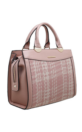 WOVEN SQUARE TOTE BAG IN PINK/TWO TONE by BESSIE LONDON