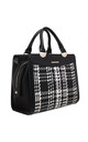 WOVEN SQUARE TOTE BAG IN BLACK/TWO TONE by BESSIE LONDON