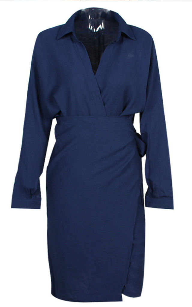 Long Sleeve Wrap Midi Dress In Navy by FS Collection