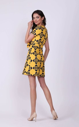 Yellow Mini Dress with Bow in Front by Bergamo