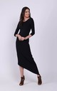 Maxi Asymmetric Dress with Bare Back in Black by Bergamo