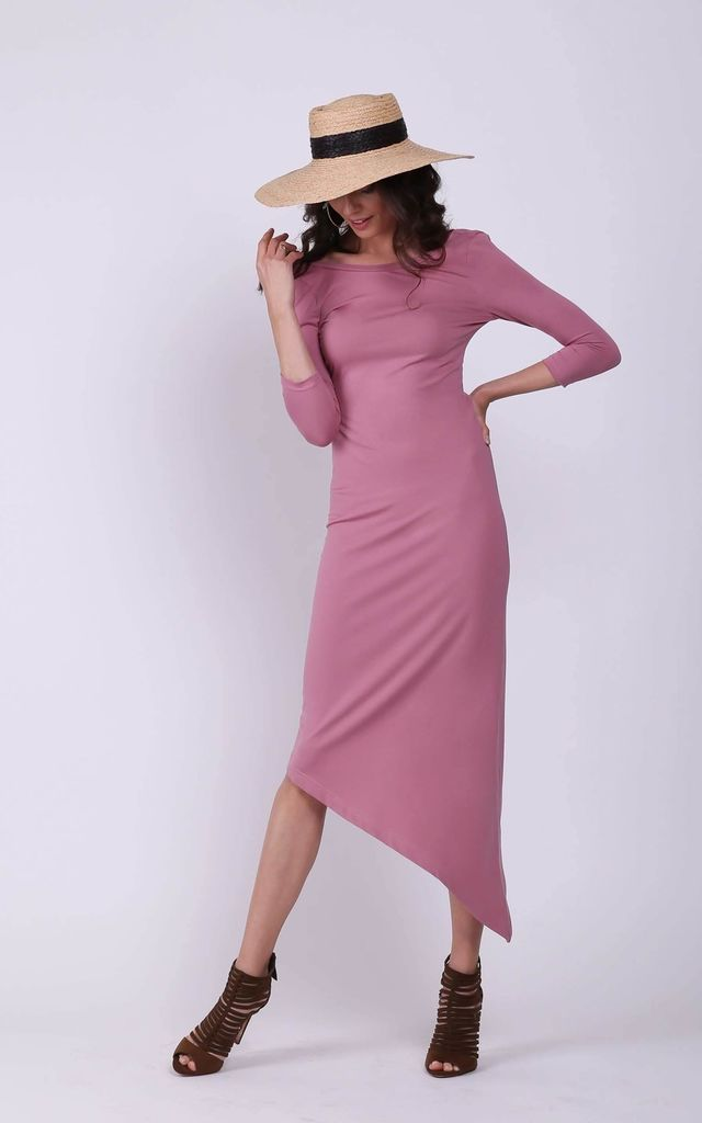 Maxi Asymmetric Dress with Bare Back in Pink by Bergamo