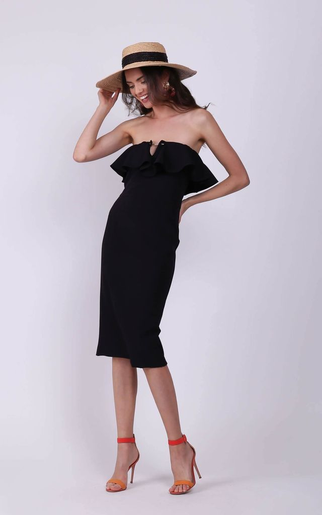 Black Off Shoulder Wedding Guest Dress with Frill by Bergamo