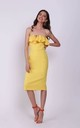 Yellow Off Shoulder Wedding Guest Dress with Frill by Bergamo