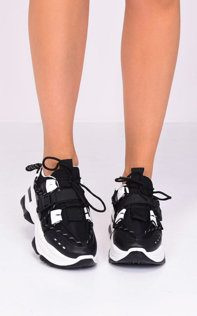 lace up chunky sole buckle trainers black by LILY LULU FASHION