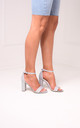 Nelly Barely There Block Heels in Silver Glitter by Linzi