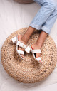 Binky White Slip On Mules With Plaited Front Strap & Studded Trim by Linzi