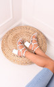 Tessa White Block Heel Sandals with Silver Studs by Linzi