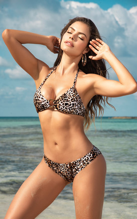 Animal Print Halter Neck Bikini With Metal Ring Detail by MAPALE