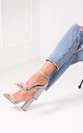 Daze Grey Patent Barely There Heels by Linzi