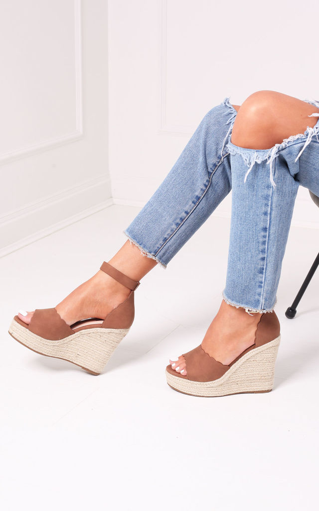 Cherish Tan Suede Rope Platform Wedge With Wavey Front Strap by Linzi